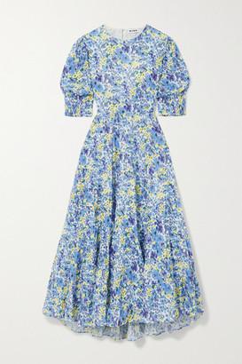 Rixo Agyness Cutout Tiered Floral-print Fil Coupe Cotton Maxi Dress - Sky blue