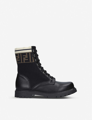 Fendi FF Worker leather lace-up boots 7-10 years