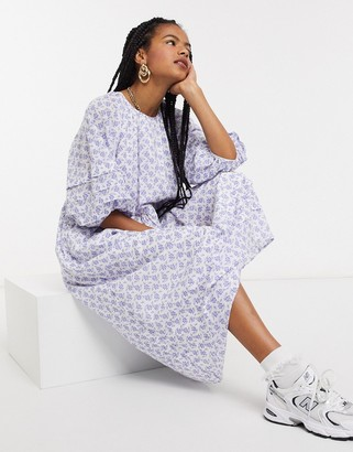 And other stories & eco floral print smock maxi dress in white