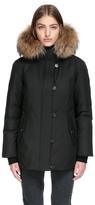 Roze Hip Length Down Coat With Natural Fur Trim