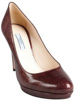 Prada brick marbled patent leather platform pumps