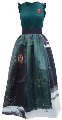 Undercover Suspiria-print Silk-satin Dress - Green Multi