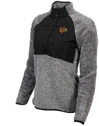 Antigua Women's Black/Heathered Gray Chicago Blackhawks Surround Sherpa Quarter-Snap Pullover Jacket
