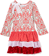 Flap Happy Cranberry Holly Triple Ruffle Dress - Toddler & Girls