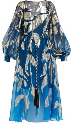 Peter Pilotto Leaf-jacquard Silk-blend Midi Dress - Womens - Blue Multi