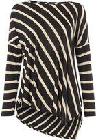 Biba Luxe casualwear stripe cowl back assymetric tee