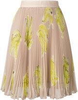 MSGM banana print pleated skirt