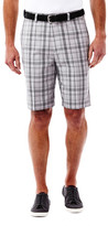 Haggar Cool 18 Windowpane Plaid Short - Straight Fit, Flat Front, Expandable Waistband