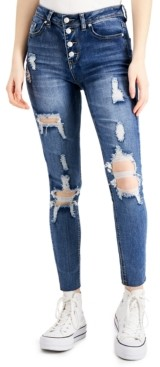 Almost Famous Button-Fly Shredded Jeans