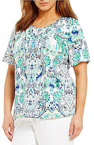 Allison Daley Plus Embellished Crew-Neck Scroll Print Knit Top
