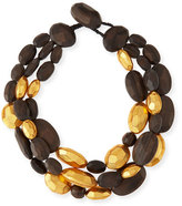 Viktoria Hayman Triple-Strand Wood and Gold Necklace
