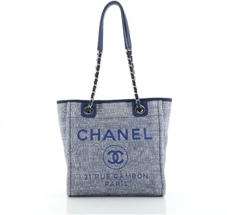 Chanel North South Deauville Tote Raffia with Glitter Detail Small