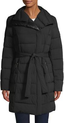 T Tahari Belted Puffer Coat