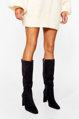 Nasty Gal Womens Knee'd a Tequila Faux Suede Calf Boots - Black - 3