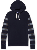 Junya Watanabe Stripe-panelled Cotton And Wool-blend Hoodie - Navy