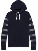 Junya Watanabe Stripe-Panelled Cotton and Wool-Blend Hoodie