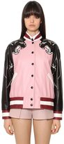 Valentino Nappa Leather Bomber Jacket W/ Panther
