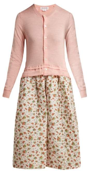Comme des Garcons Knitted And Quilted Panel Dress - Womens - Pink