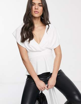 Asos Design DESIGN fallen shoulder top with tie waist