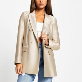River Island Womens Beige metallic structured long sleeve blazer