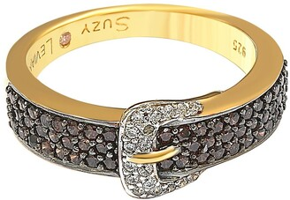 Suzy Levian Gold-Tone Sterling Silver CZ Brown Buckle Ring