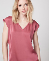 Le Château Satin & Jersey V-Neck Top