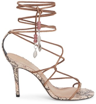 Isabel Marant Adeia Ankle-Wrap Snakeskin-Embossed Leather Thong Sandals