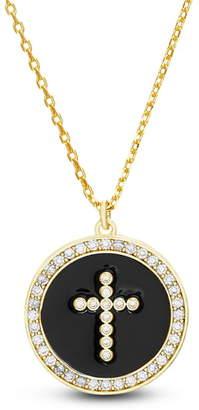 Lesa Michele Pave Halo Pendant Necklace