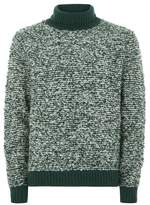 Topman Mens LTD Green Stripe Turtle Neck Boucle Sweater