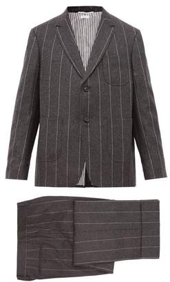 Thom Browne Striped Wool Two Piece Suit And Tie - Mens - Grey