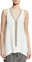 Brunello Cucinelli Sleeveless Silk Tunic with Monili Necklace, White
