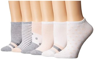 Sof Sole Stripe and Dot No Show 6-Pack (Assorted) Women's Crew Cut Socks Shoes