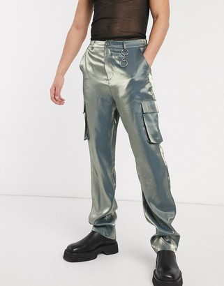 ASOS EDITION wide leg cargo trousers in iridescent fabric