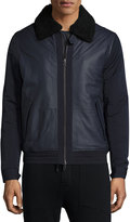 Vince Mixed Media Leather Bomber Jacket, Coastal Blue