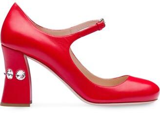 Miu Miu embellished slanted heel pumps