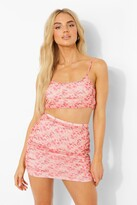 Thumbnail for your product : boohoo Printed Mesh Ruched Crop & Mini Skirt