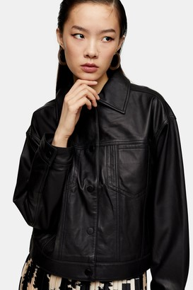 Topshop Black Clean Leather Jacket