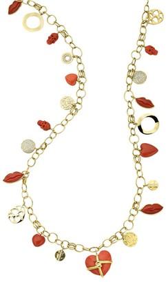 Ippolita Rock Candy 18K Yellow Gold Multi Coral & Diamond Charm Necklace