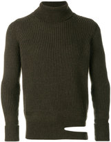 Common Wild ripped ribbed turtleneck sweater