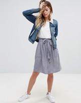Vila Denim Belted Skirt