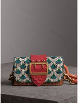 Burberry The Small Buckle Bag in Scallop Trim Snakeskin and Ostrich, Brown