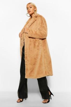 boohoo Faux Faur Single Breasted Longline Coat
