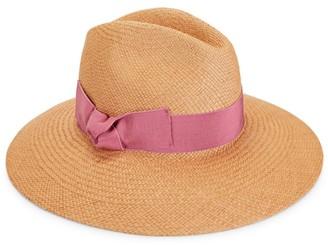 Raffaello Bettini Real Panama Ribbon-Trimmed Large-Brim Hat