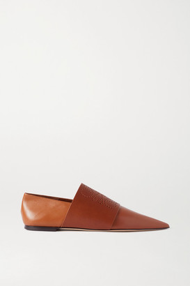 Loewe Perforated Leather Loafers - Tan