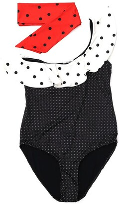 Ganni Contrasting Dots Once-Piece Swimsuit