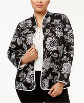 Alfred Dunner Plus Size Quilted Floral-Print Jacket