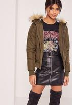 Missguided Faux Fur Hood Padded Bomber Jacket Khaki