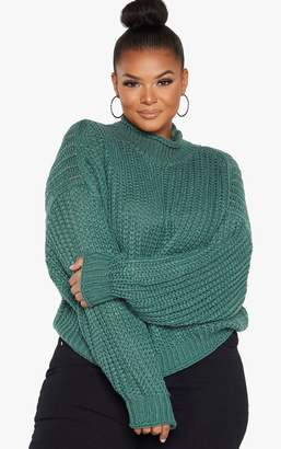 PrettyLittleThing Plus Green Chunky Knit Oversized Jumper