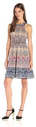 London Times Women's Rainbow Tribal Jacquard Full Skirt Halter Dress