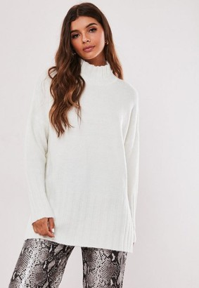 Missguided White Extreme Rib Hem Long Sweater